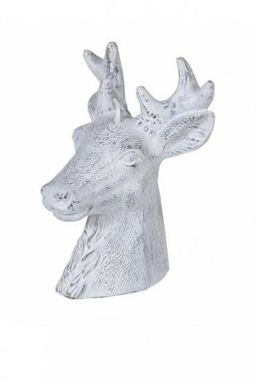Small White Reindeer Head Candle