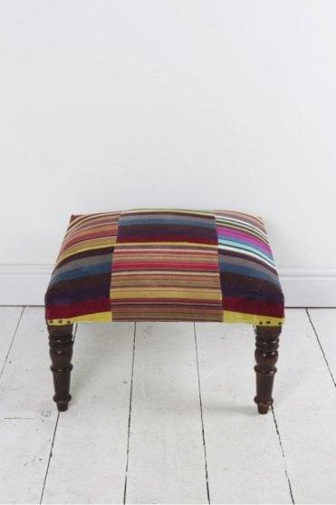 Stripe Velvet Footstool