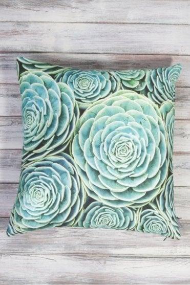 Succulent Cushion in Aqua