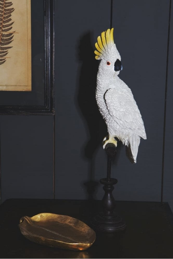 The Home Collection White Cockatoo On Perch Figure