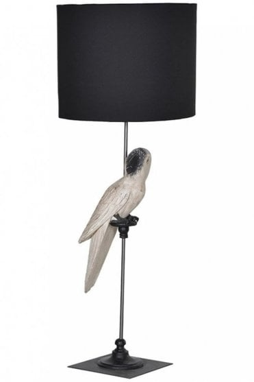 White Parrot Lamp With Black Shade