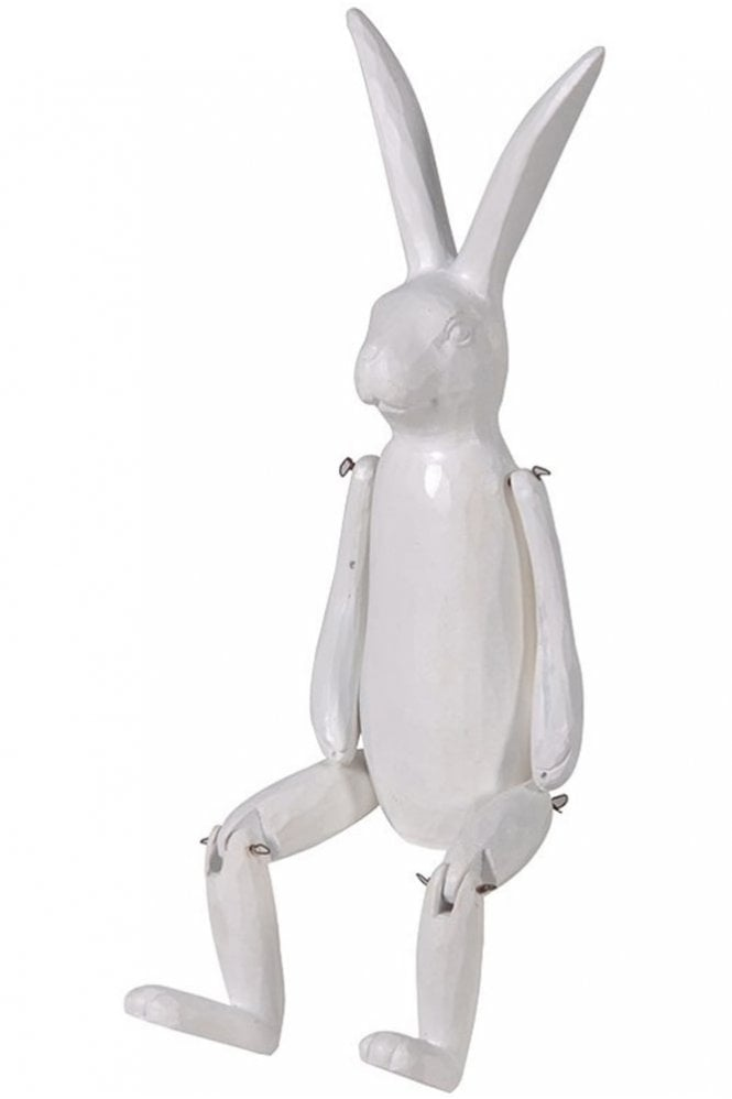 Sue Parkinson Home Collection White Wood Effect Jointed Rabbit