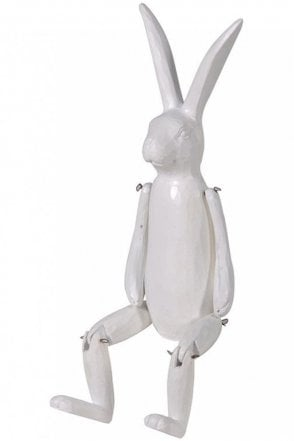 White Wood Effect Jointed Rabbit