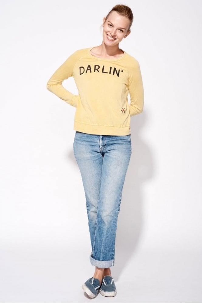 Sundry Darlin' Vintage Crop Pullover in Vintage Mustard