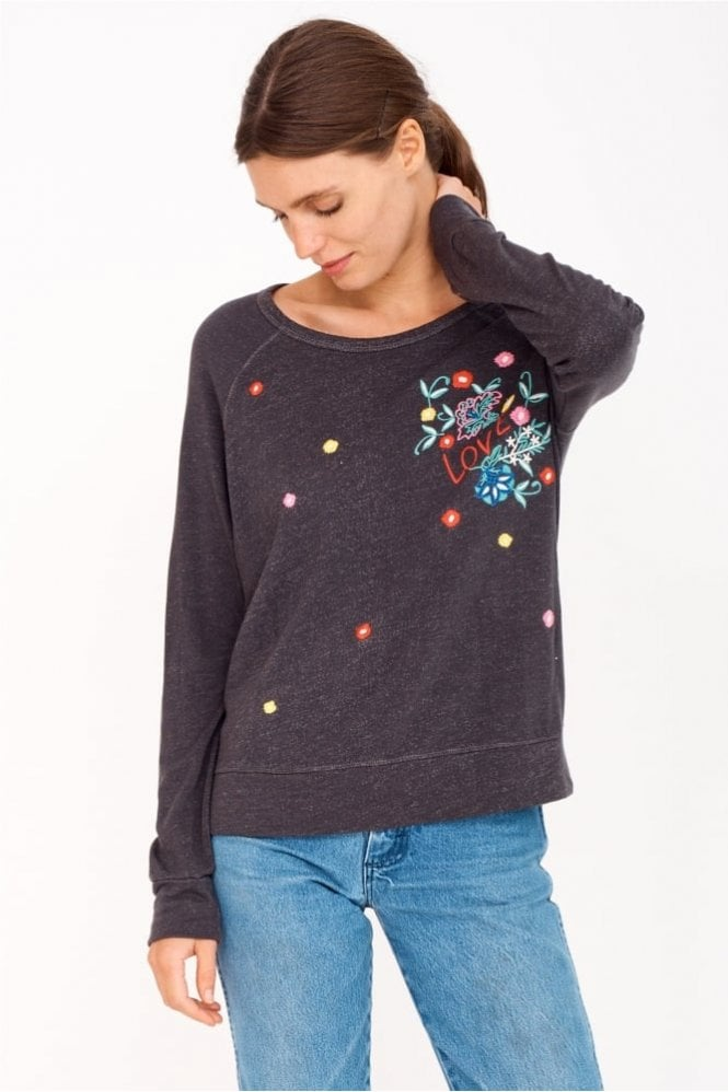 Sundry Floral Embroidered Cropped Pullover