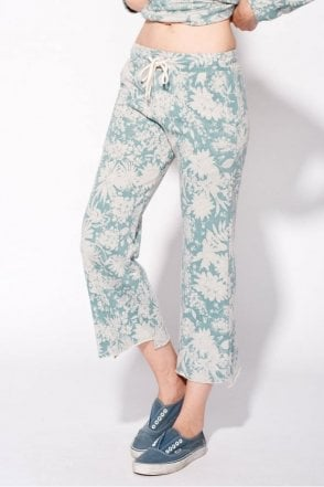 Floral Flare Sweatpant in Heather Teal Grey