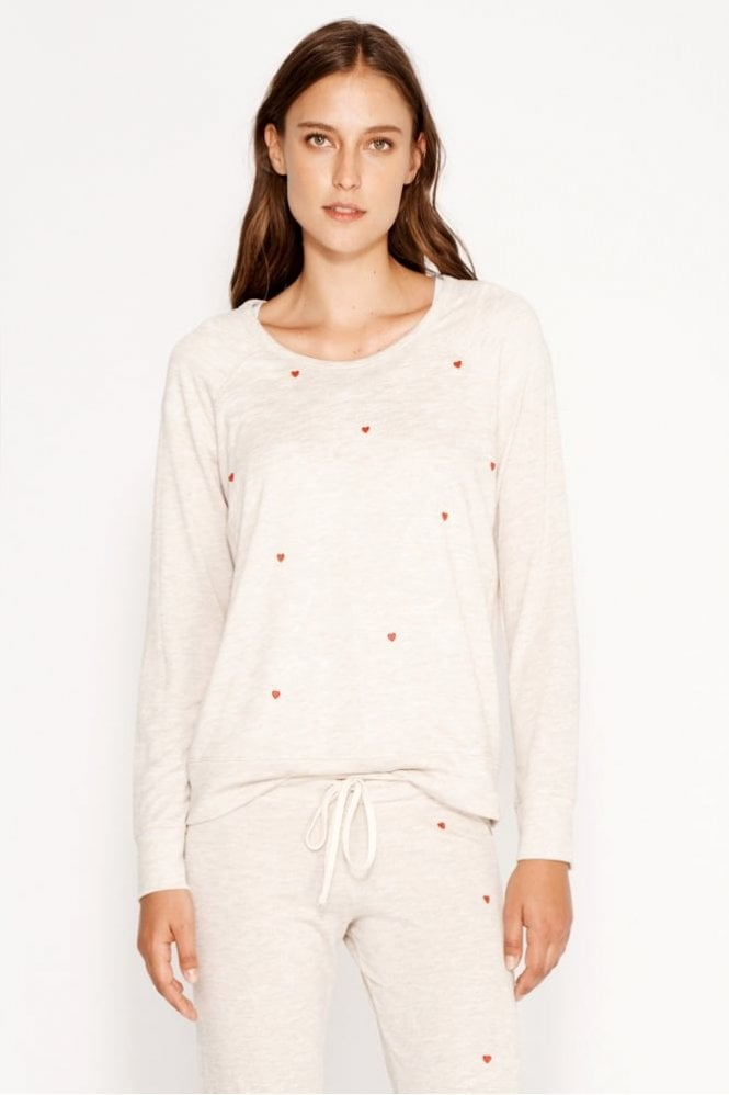 Sundry Heart Patches Cropped Pullover