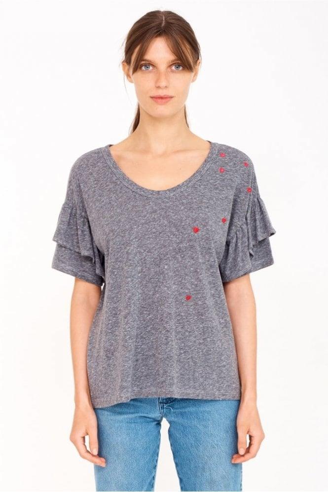 Sundry Mini Hearts Ruffle Sleeve T-shirt