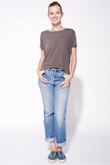 Play Nice Tie Back Tee in Pigment Mocha