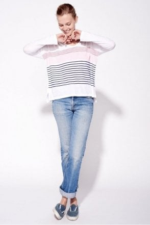 Stripe U neck Long sleeve Top