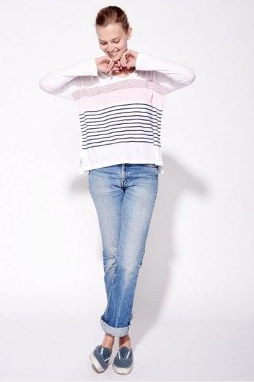 Stripe U neck Long sleeve Top