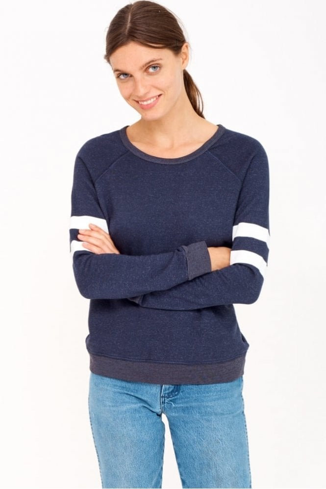 Sundry Stripes Sweatshirt in Navy