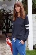 Sundry Stripes Sweatshirt in Navy