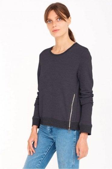 Zipper Sweatshirt in Soft Black