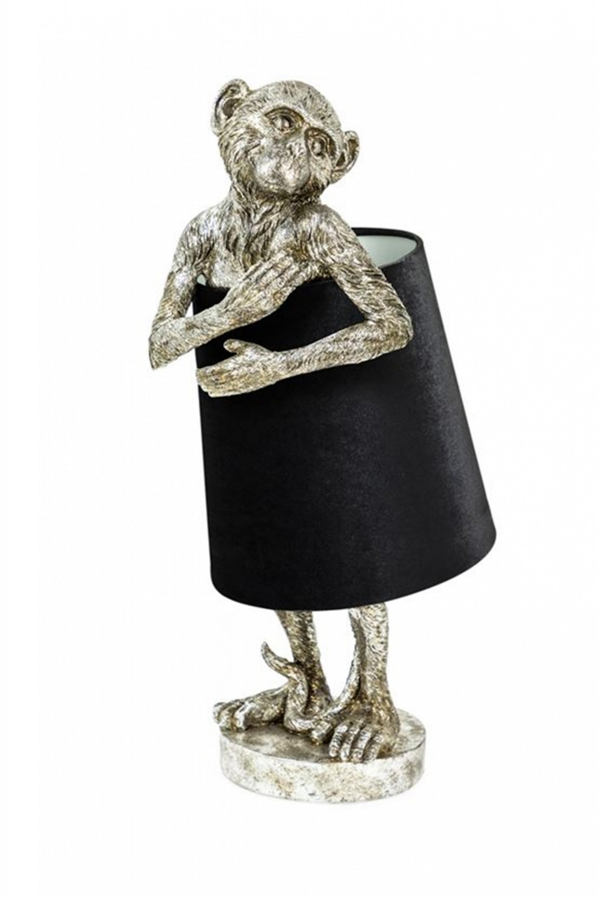 Sue Parkinson Antique Silver Bashful Monkey Table Lamp With Black Velvet Shade