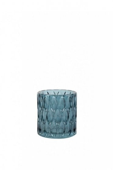Barras Glass Tealight Holder in Blue