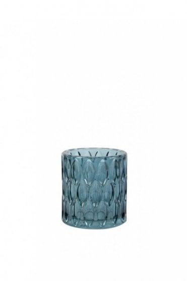 Barras Glass Tealight Holder in Blue