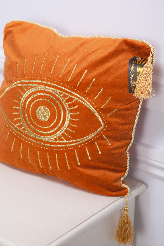 Sue Parkinson Eye Velvet Cushion In Burnt Orange At Sue Parkinson