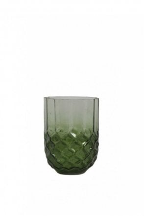 Forges Glass Tea Light Holder in Dark Green