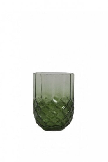 Forges Glass Tea Light Holder in Dark Green