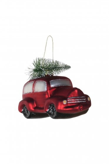 Glass Red Car Bauble with Tree