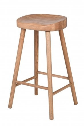 Low Weathered Oak Farmhouse Stool