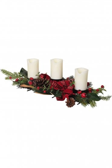 Red Berry and Pine Candle Centrepiece
