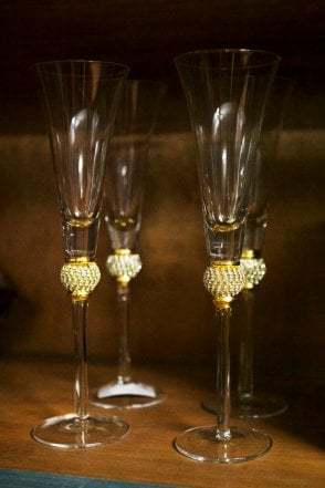 Set of 4 Gold Diamante Ball Champagne Glasses