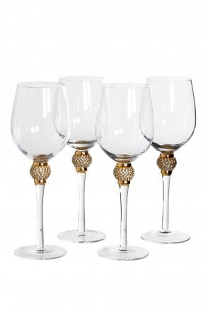 Set of 4 Gold Diamante White Wine Glasses