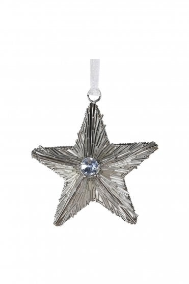 Silver Beaded Star Hanging Decoration