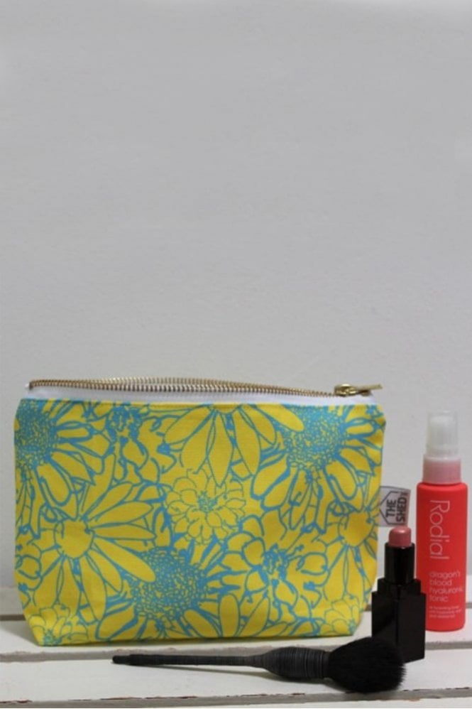 The Shed Inc Neon and Blue Chelsea Flower Cotton Makeup Bag