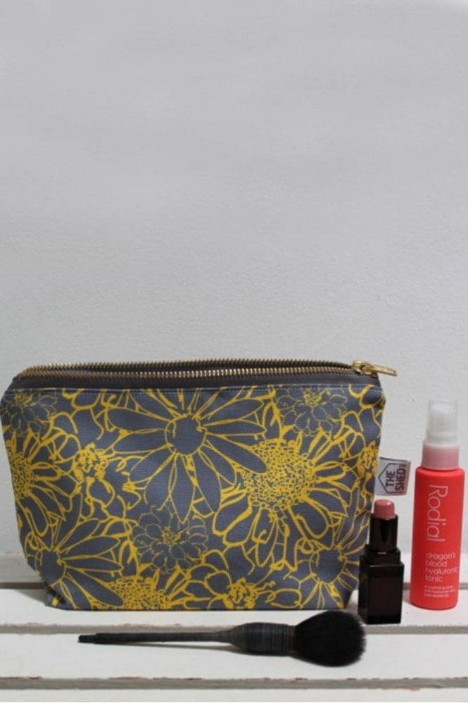 The Shed Inc Slate and Yellow Chelsea Flower Cotton Makeup Bag