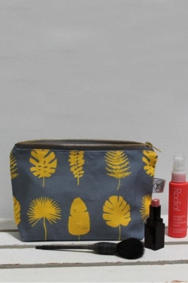 Slate and Yellow Popflower Cotton Makeup Bag