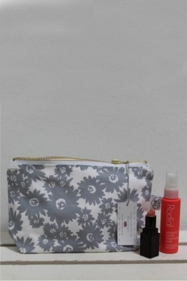 Slate Daisy Cotton Make Up Bag