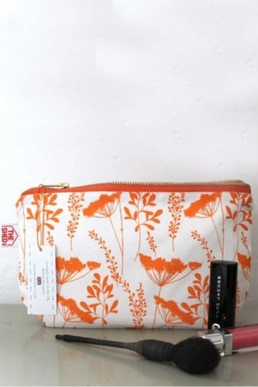 Tangerine Cow Parsley Cotton Makeup Bag