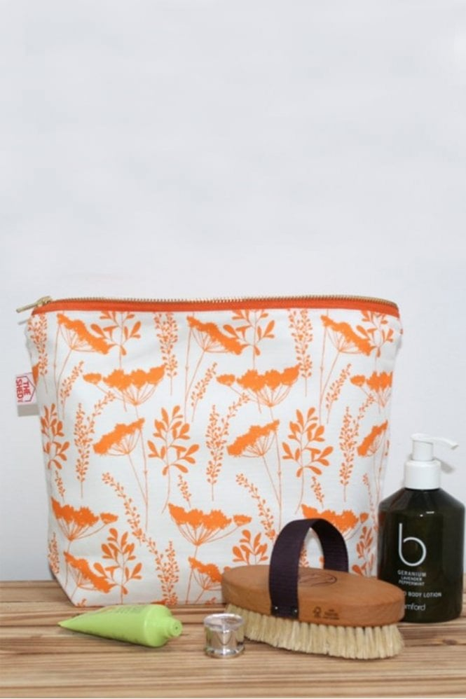 The Shed Inc Tangerine Cow parsley Design Wash Bag