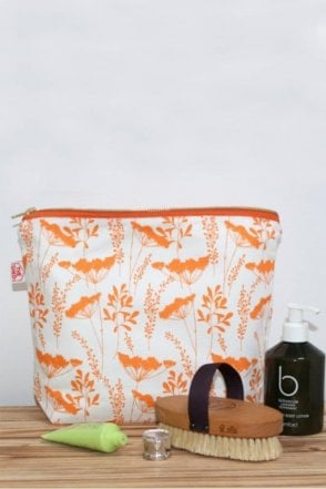 Tangerine Cow parsley Design Wash Bag