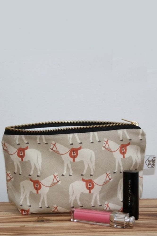 The Shed Inc Taupe Fergie Horse Design Cotton Makeup Bag