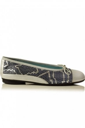 Gwyneth Snake Ballerina Pump in Silver