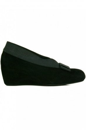 High Side Suede Wedge With Bow