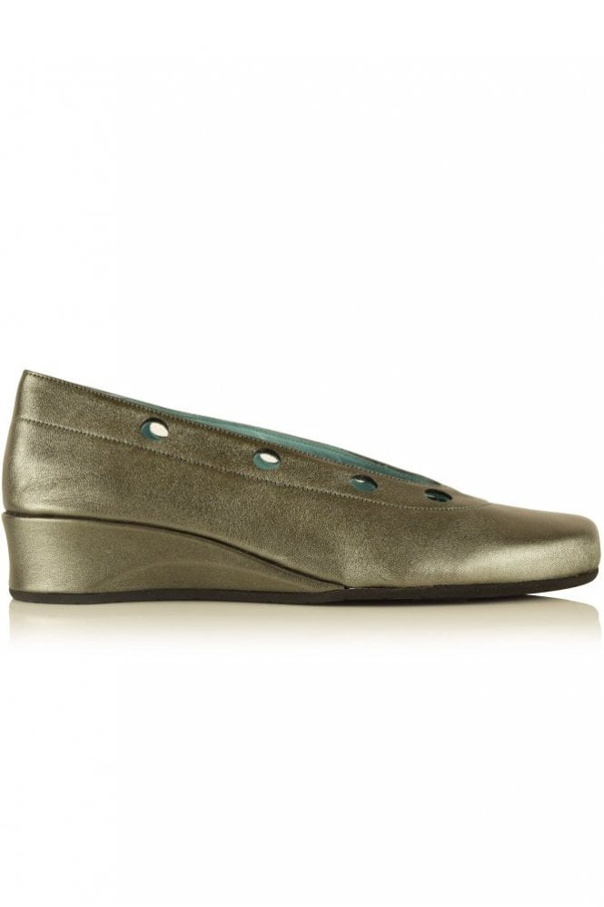 Thierry Rabotin Metallic Ballerina Wedge in Umbra Grey