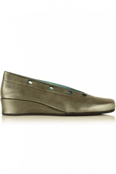 Metallic Ballerina Wedge in Umbra Grey