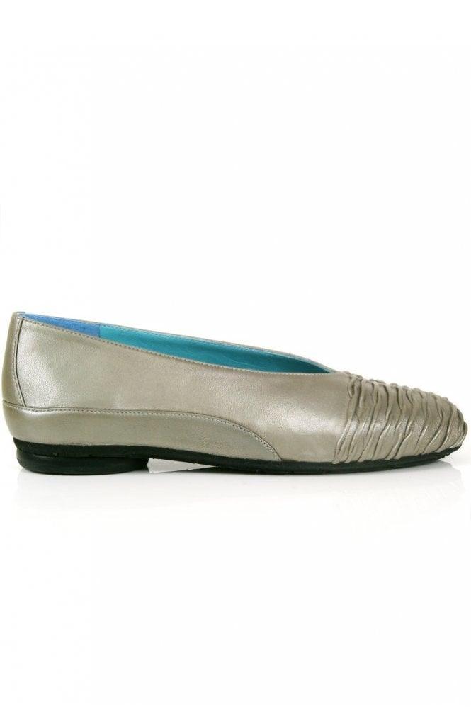 Thierry Rabotin Shirred Front Metallic Ballet Pump