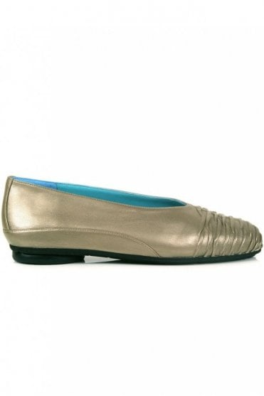 Shirred Front Metallic Ballet Pump