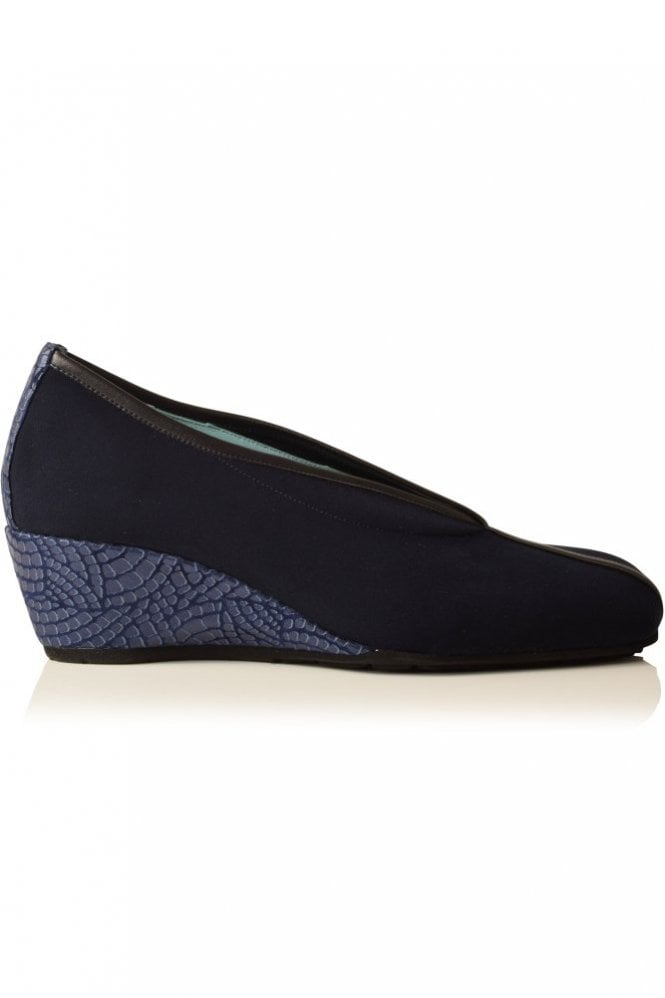 Thierry Rabotin Snake Heel Wedge in Navy