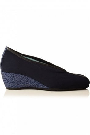 Snake Heel Wedge in Navy
