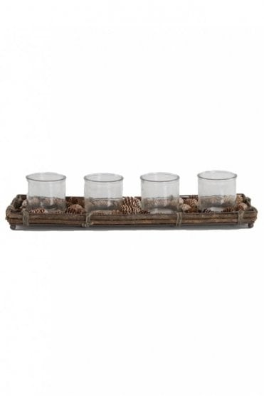 Rattan Tray Candle Holder