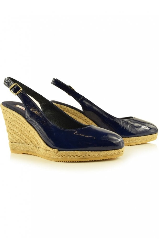 Toni Pons Brasil 7 Patent Leather Slingback Wedge Espadrille in Navy