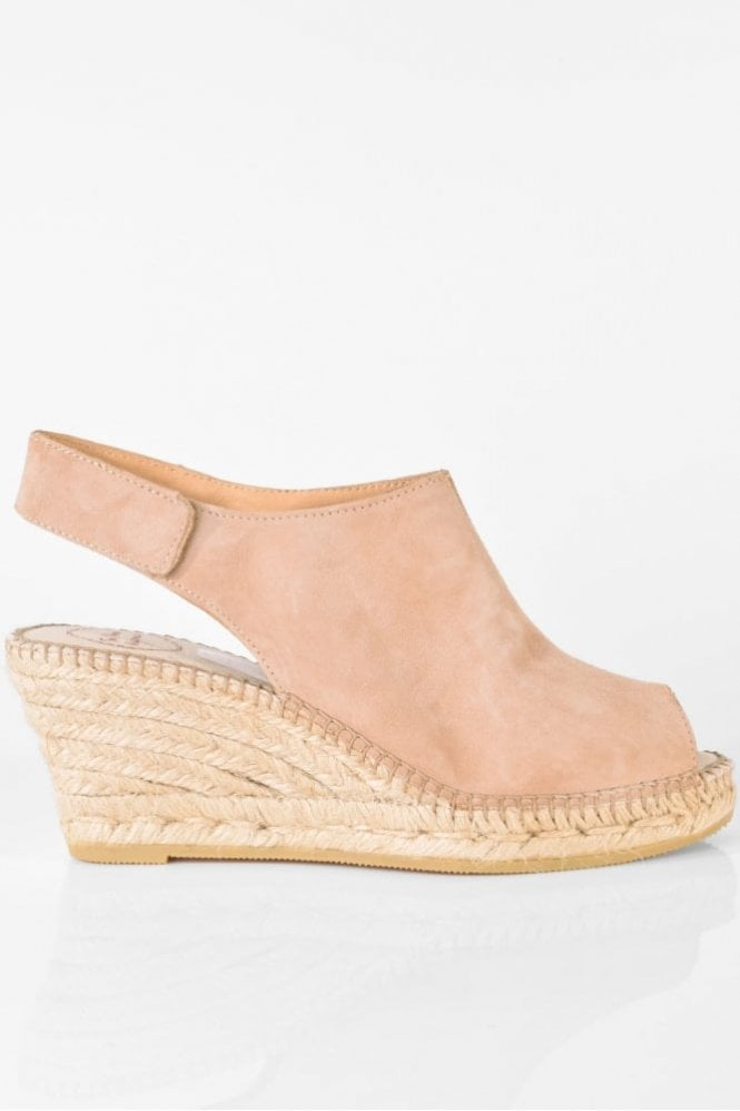 Toni Pons Cristel-A Suede Wedge in Nude