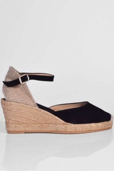 Lloret-5 Suede Wedge Espadrille in Black
